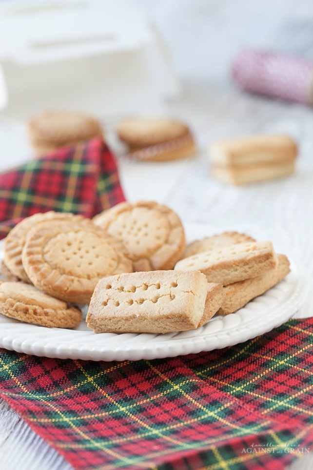 Gluten-Free Shortbread Cookies on a white dish
