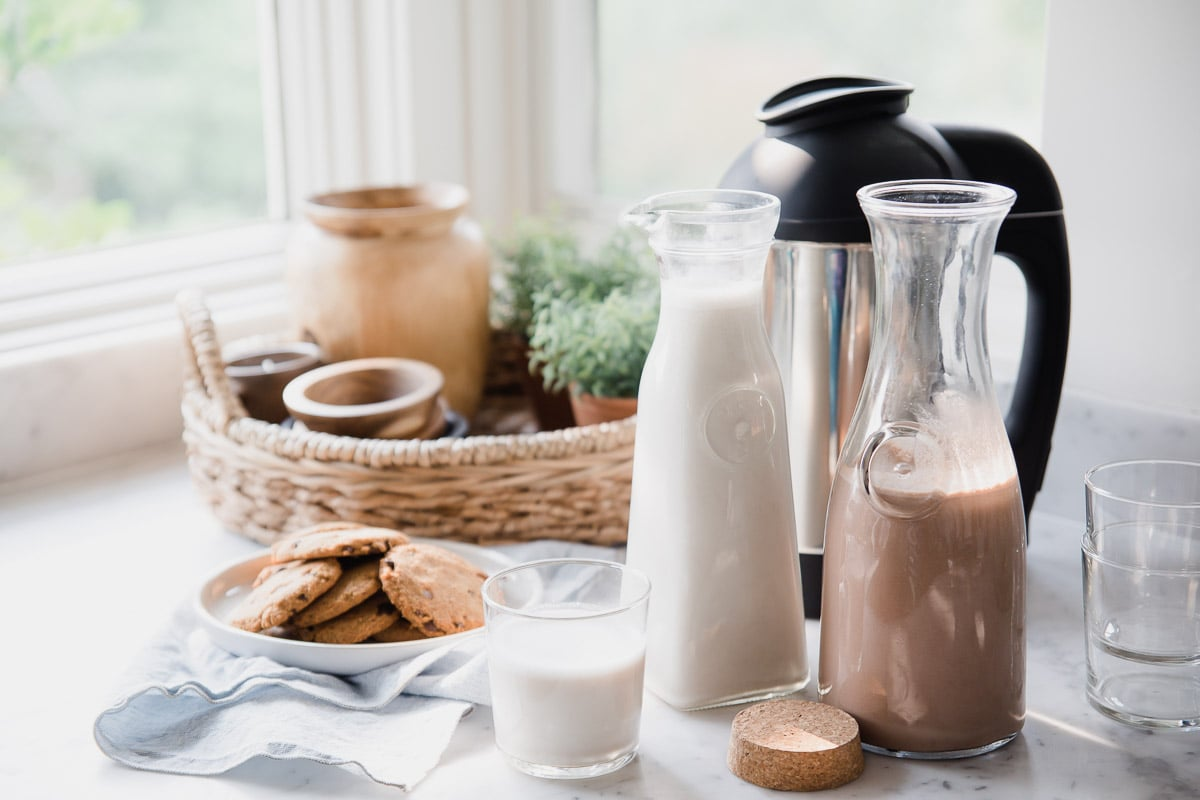 Homemade Dairy-Free Milk with Almond Cow sitting on a table next to a platter of chocolate chip cookies