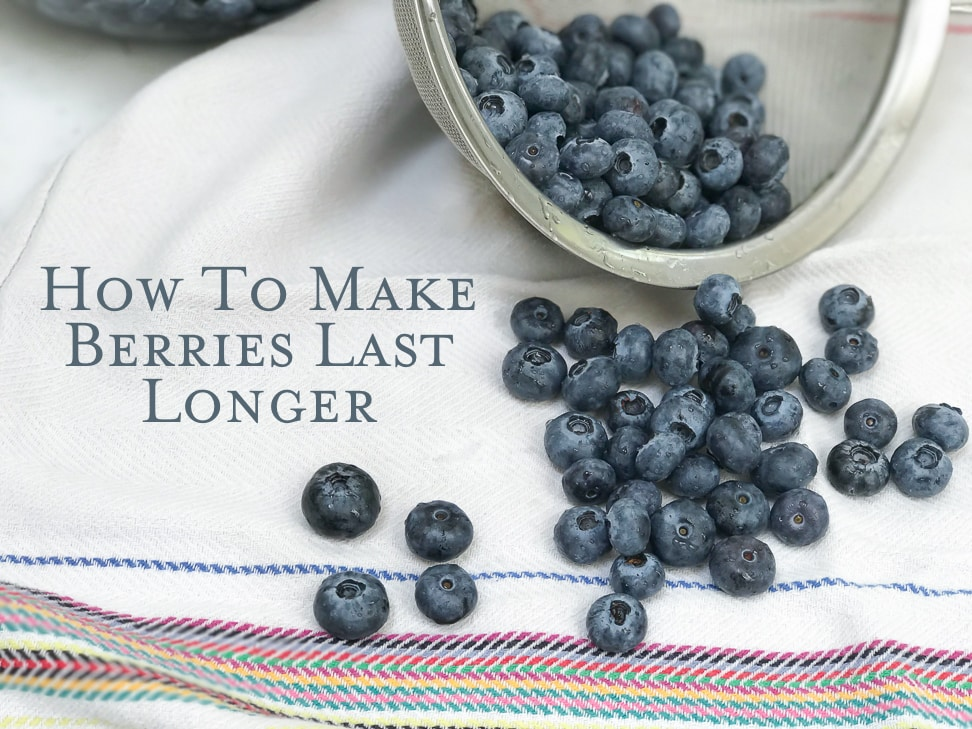 Title image displaying blueberries falling out of a sieve after processing them to make them last longer.