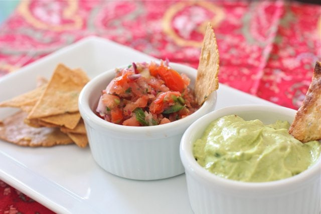 Pico De Gallo and Avocado Crema Salsa with chips on the side.