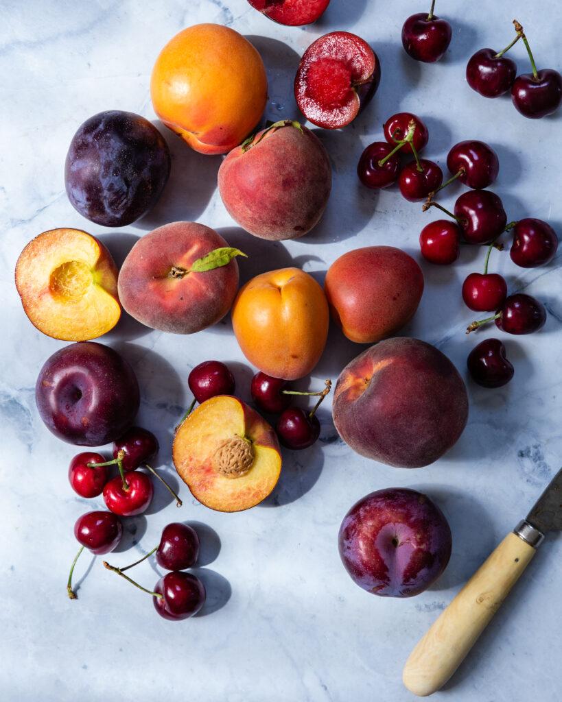 Variety of stone fruit